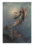 She Took Up The Jewel In Her Hand, Left The Palace, And Successfully Reached The Upper World Posters by Warwick Goble