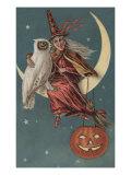 Witch On A Pumpkin Prints