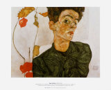 Self Portrait with Chinese Lanterns, c.1912 Posters tekijn Egon Schiele