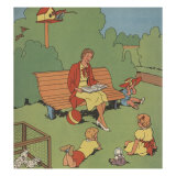 Mother Reads To Us In The Park Print by Constance Heffron
