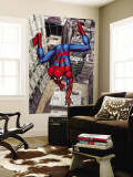 Spider-Man Above the City, Crawling on Web Wall Mural