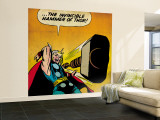 Marvel Comics Retro: Mighty Thor Comic Panel, Throwing Hammer (aged) Wall Mural – Large