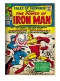 Marvel Comics Retro: The Invincible Iron Man Comic Book Cover 58, Facing Captain America (aged) Prints