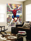 Spider-Man, Green Goblin, Sandman, Electro, Doctor Octopus, Mysterio, and Vulture Fighting in City Premium Wall Mural