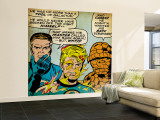 Marvel Comics Retro: Fantastic Four Comic Panel, Mr. Fantastic, Invisible Woman, Thing (aged) Wall Mural – Large