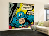 Marvel Comics Retro: Captain America Comic Panel, Villain Monologue, Say your Prayers (aged) Premium Wall Mural (Large)