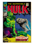 Marvel Comics Retro: The Incredible Hulk Comic Book Cover No.104, with the Rhino (aged) Art