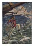 Illustration Of Canadian Brandishing Harpoon Prints by Milo Winter