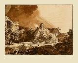 Landcsape and Thunderstorm Samlertryk af Rembrandt van Rijn