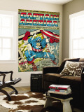 Marvel Comics Retro: Captain America Comic Panel; Smashing through Window (aged) Reproduction murale géante
