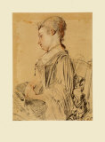 Seated Woman Collectable Print by Antoine Watteau