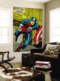 Marvel Comics Retro: Captain America Comic Panel, U.S. naval Hospital (aged) Wall Mural