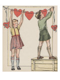 Hanging Up The Valentines Poster by Kate Seredy