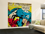 Marvel Comics Retro: Captain America Comic Panel, Monologue, I'm in Luck! (aged) Premium Wall Mural (Large)