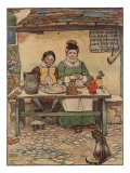 Illustration From Little Jack Sprat Of Couple Eating Poster by Frank Adams