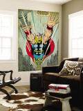 Marvel Comics Retro: Mighty Thor Comic Panel, Flying (aged) Wall Mural