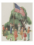 Putting Up The Flag Prints by Mildred Lyon Hetherington