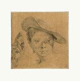 Head of a Young Girl with a Hat Samlertryk af Giovanni Battista Piazzetta