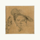 Head of a Young Girl with a Hat Collectable Print by Giovanni Battista Piazzetta