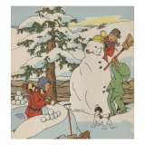 Making A Snowman In Winter Prints by Constance Heffron