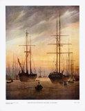 The Harbour of Greifswald Reprodukcje autor Caspar David Friedrich