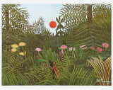Virgin Forest with Sunset, c.1909 Print by Henri Rousseau
