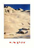 Mountain Pastures in Snow Prints by Alfons Walde