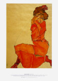 Kneeling Female in Orange Dress, c.1910 Poster by Egon Schiele