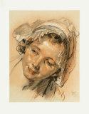 Study of a Head of a Girl Samlertryk af Jean-Baptiste Greuze
