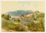 View of Gmunden at Lake Traun from Old Post Street Samlertryk af Josef Hoger