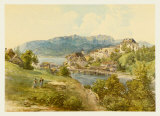 View of Gmunden at Lake Traun from Old Post Street Collectable Print by Josef Hoger