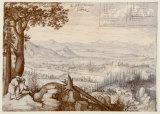 View of Linz from Pöstlingberg Samlertryk af Lucas Valckenborgh
