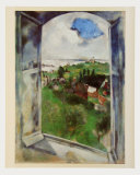Window with View on the Island Bréhat, c.1924 Posters av Marc Chagall