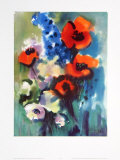 Red Poppies and Delphinium Prints by Franz Aumueller