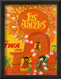 Los Angeles, Fly TWA Jets Framed Giclee Print by David Klein