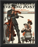 Motorcycle Cop and Kids, c.1922 Framed Giclee Print by Joseph Christian Leyendecker