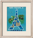 Air France: Eiffel Tower and Paris Monuments, c.1952 Framed Giclee Print by Bernard Villemot
