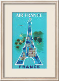 Air France: Eiffel Tower and Paris Monuments, c.1952 Kunstdruck von Bernard Villemot