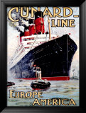 Cunard Line, Aquitania Framed Giclee Print by Odin Rosenvinge