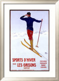 Sports d'Hiver dans les Grisons Framed Giclee Print by Walter Koch