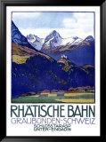 Rhatische Bahn, Schloss Tarasp Inramat gicléetryck av Emil Cardinaux