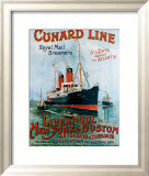 Cunard Line, Liverpool to New York Estampe encadrée par R.m Neville Cumming