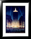 New York, Central Building, 1930 Estampe encadr&#233;e par Chesley Bonestell