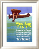 Try Trying Success Indrammet giclee-tryk