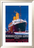 Norddeutscher Llyod Bremen Framed Giclee Print by Harry Hudson Rodmell