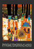 Imagine Tomorrows World (orange) Plakater av Friedensreich Hundertwasser