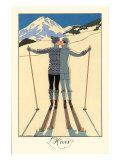 De winter, kussend stel op ski's met tekst: L'Hiver Print van Georges Barbier