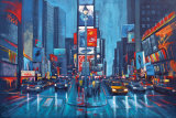 Times Square Blue Poster by Phil Wilson