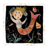 Mermaids Don't Use Combs Giclee-tryk i høj kvalitet af Barbara Olsen