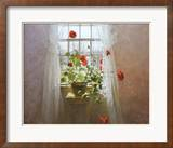 Red Geraniums Print by Peter Poskas